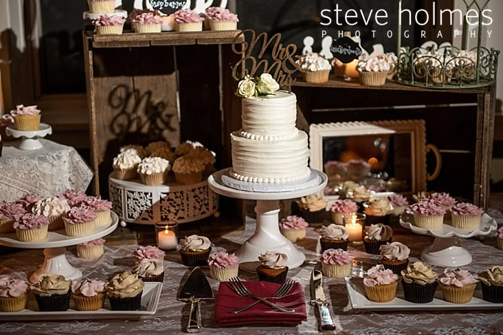 63_Wedding cake surrounded by assorted cupcakes at reception.jpg