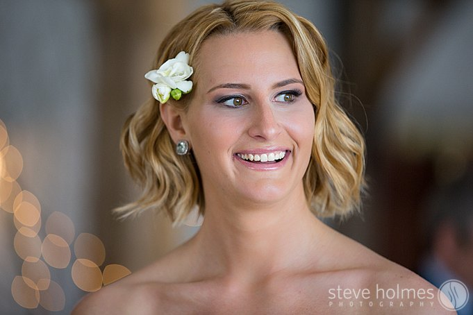 A candid photo of the bride in natural light.