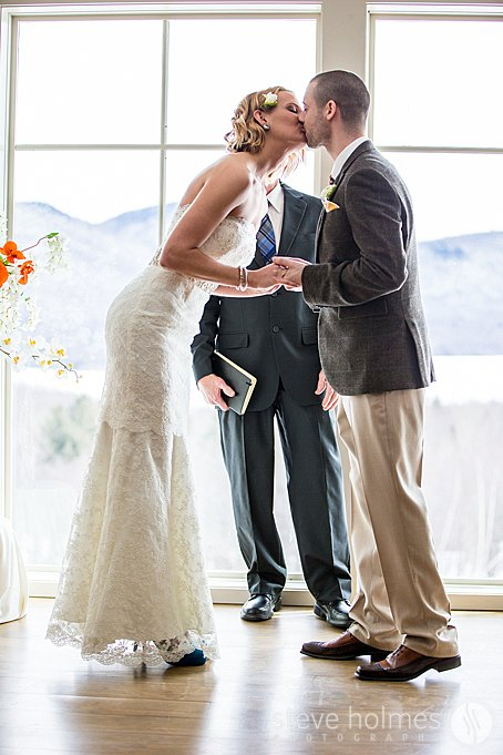 A breathtaking view behind the couple as they have their first kiss.