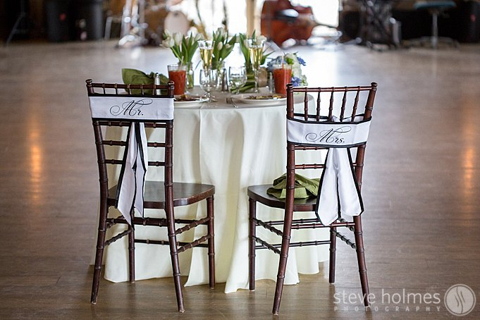 A quaint table for two for the bride and groom at The Mountain Top Inn & Resort.