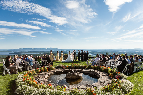 Wedding ceremony at Castle in the Clouds.
