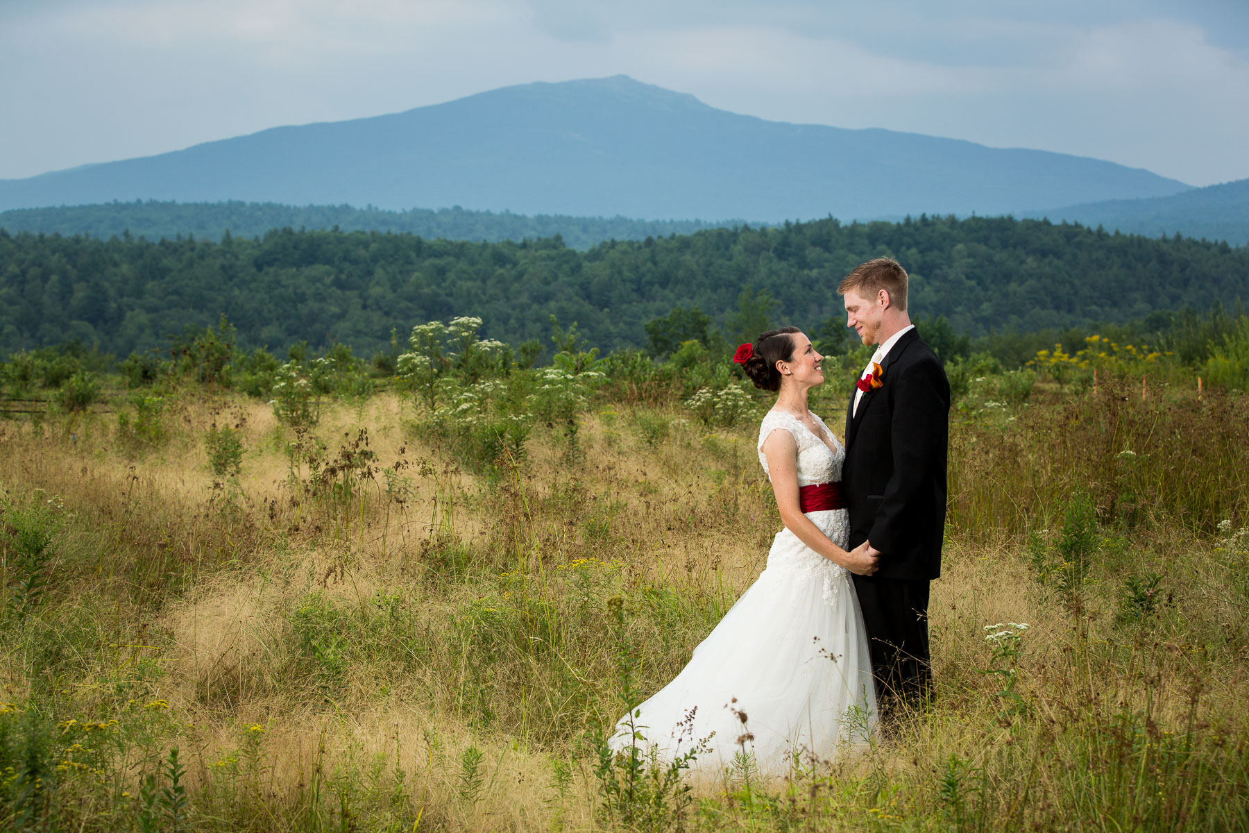 Portrait of the bride and groom at Monadnock Berries.