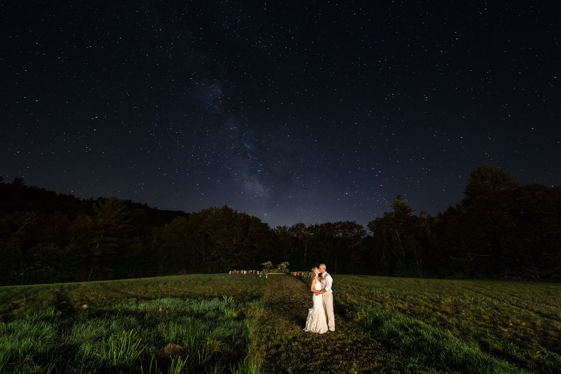 Night portrait at a wedding in Gilsum, NH.