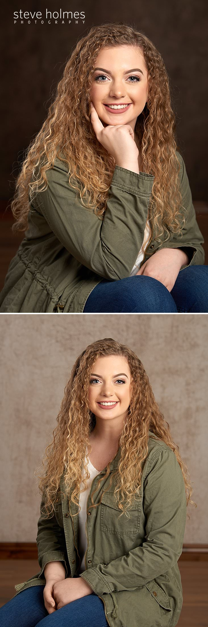 02_Teen with blonde, curly hair rests her hand on her cheek for studio senior portrait.jpg