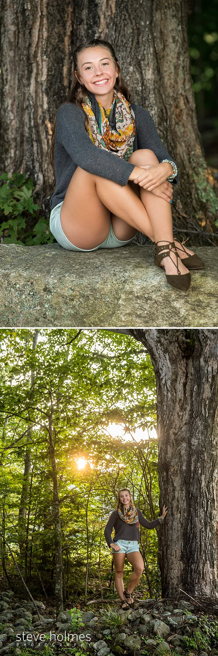 15_Teenaged girl sits on stone in front of a tree for senior portrait.jpg