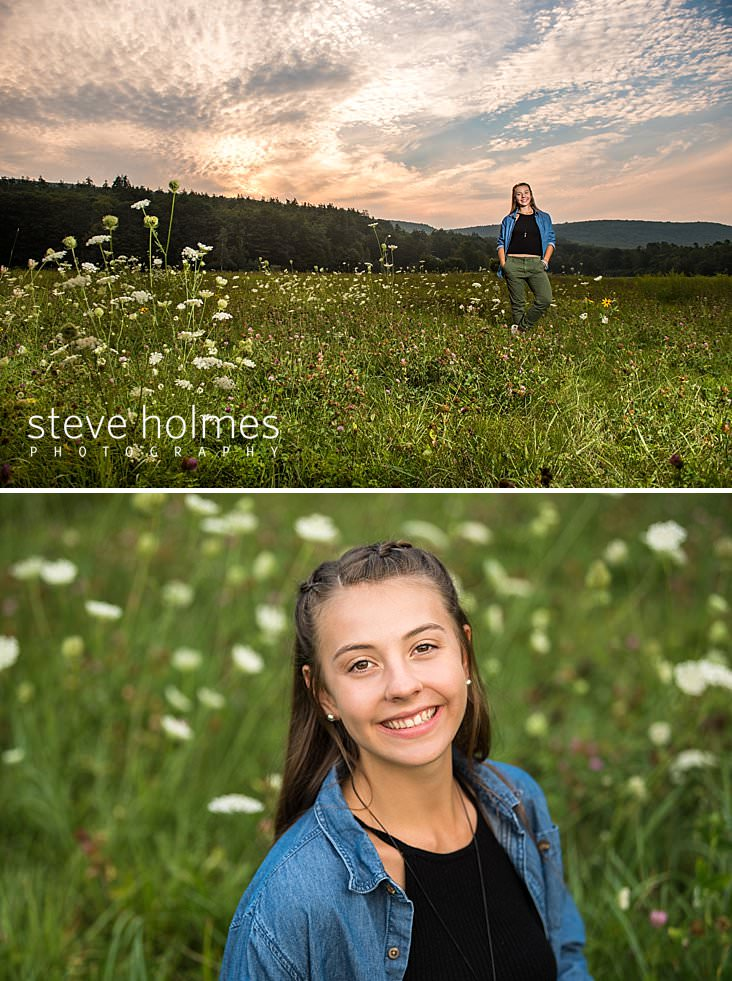 18_Young woman poses with her hands in pockets in a field of flowers under the setting sun.jpg