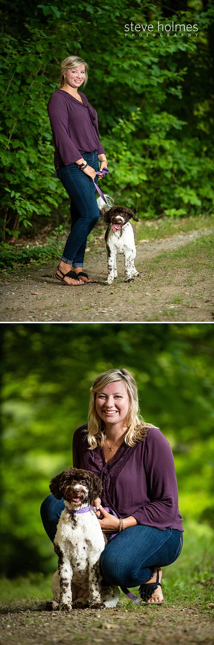 06_Blonde teen in jeans and purple blouse walks her dog on country path.jpg