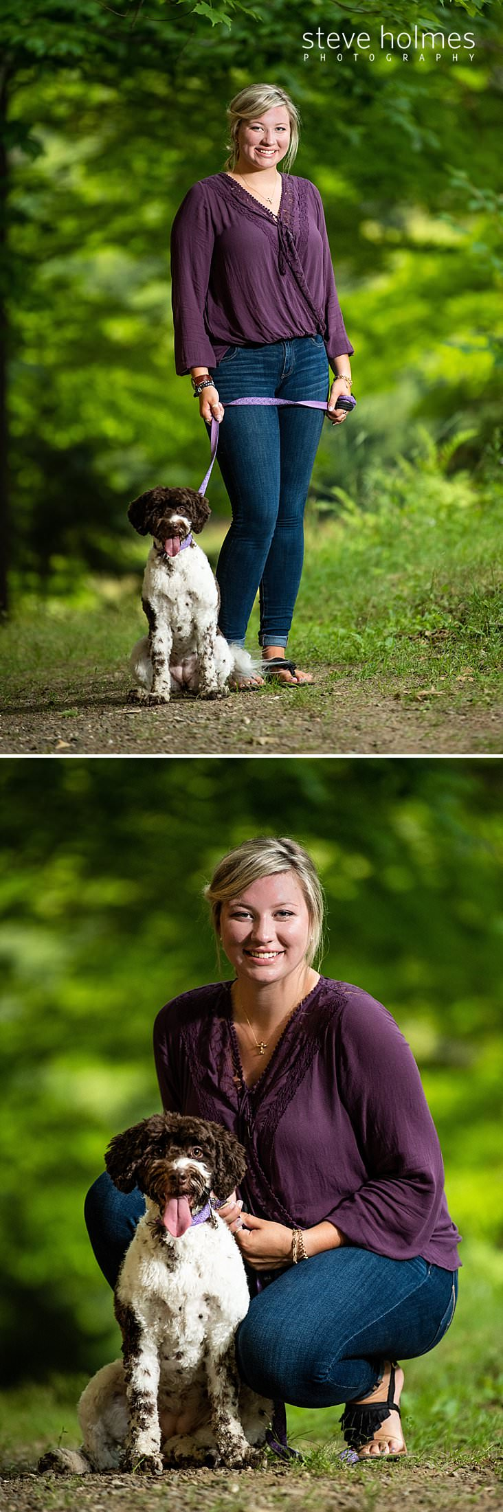 07_Teen in jeans and purple top stands with her dog for outdoor senior portrait.jpg