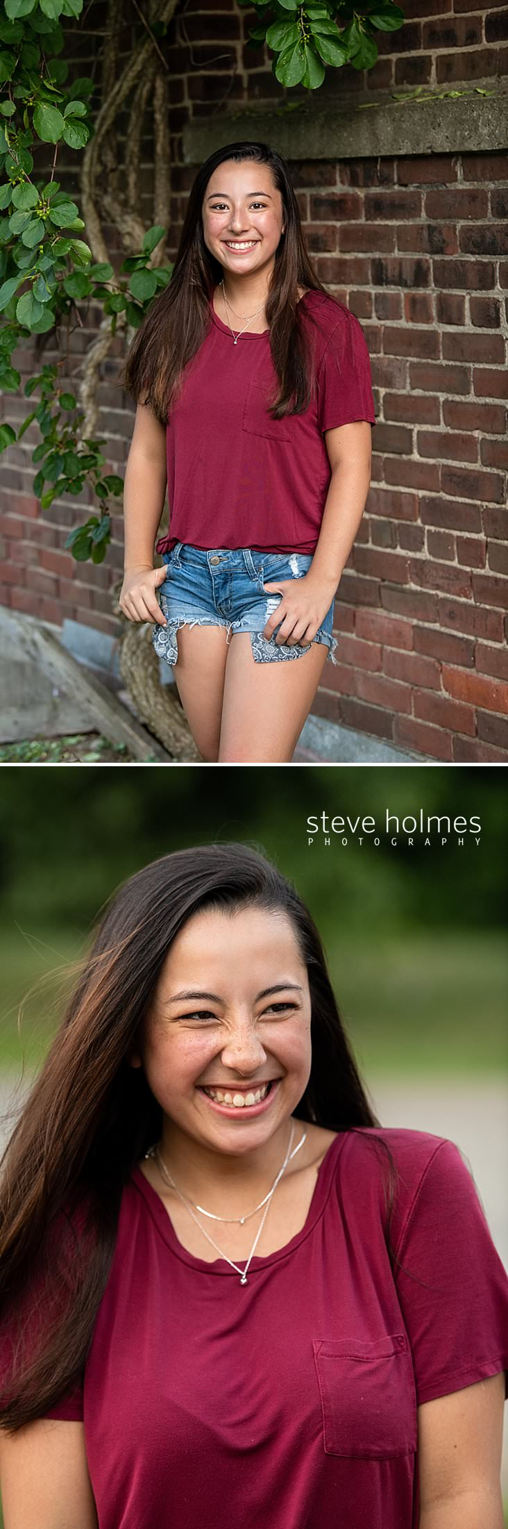19_Teen girl in red tee shirt and jean shorts poses in front of brick wall and vines for outdoor senior portrait.jpg