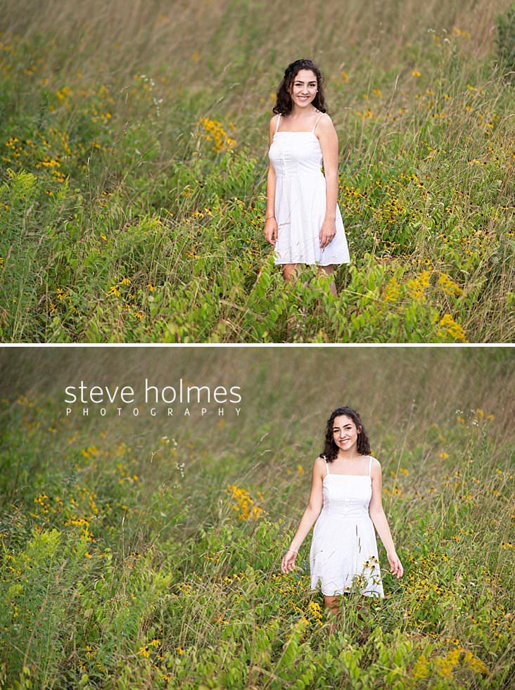 14_Landscape senior portrait of teen in white dress in field of wildflowers.jpg