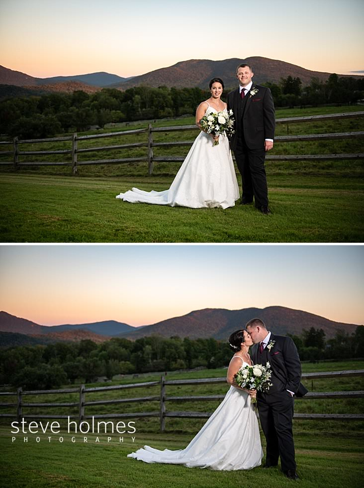 53_Portrait of Bride and groom at the Mountain Top Inn and Resort at sunset.jpg