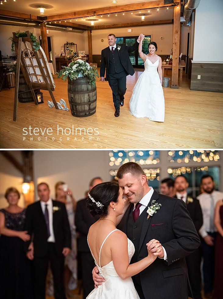 58_Bride and groom enter reception with their arms raised.jpg